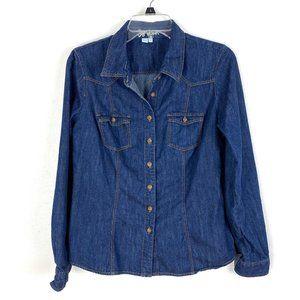 Boden chambray denim shirt button up long sleeve